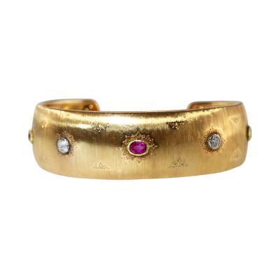 Buccellati 18 Karat Gold Ruby and Diamond Cuff by Buccellati Italy circa 1940