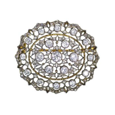 Buccellati 18 Karat Gold Silver and Diamond Brooch by Mario Buccellati Circa 1930