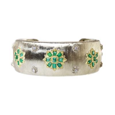 Buccellati 18 Karat Two Tone Gold Emerald and Diamond Cuff by M Buccellati Italy