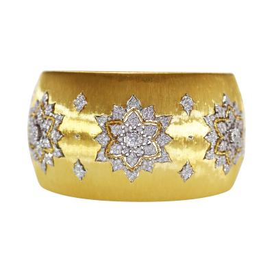 Buccellati 18 Karat Two Tone Gold and Diamond Cuff by Buccellati Italy
