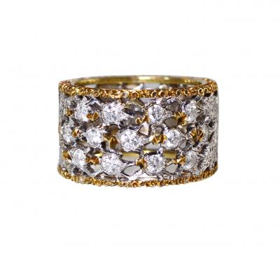 Buccellati 18 Karat Two Tone Gold and Diamond Ring by Buccellati Italy