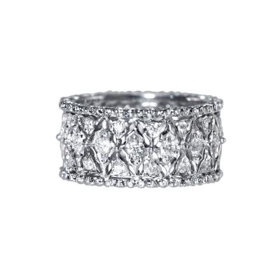 Buccellati 18 Karat White Gold and Diamond Band by Buccellati Italy