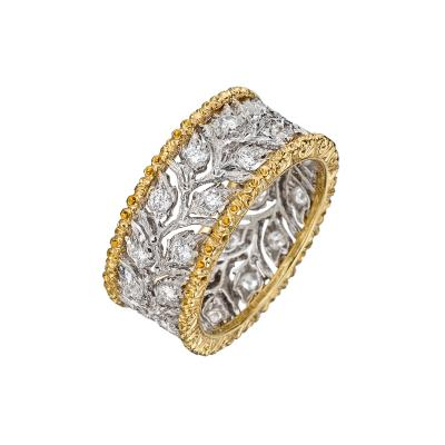 Buccellati Buccellati 18k Gold Diamond Ramage Foliate Band Ring