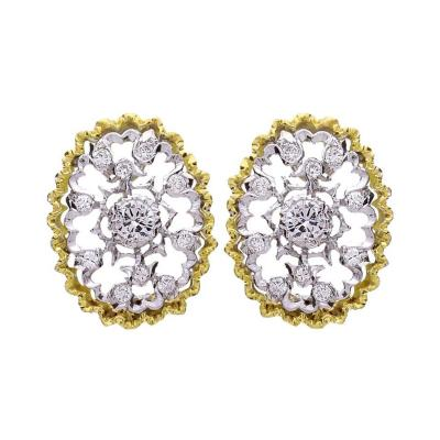 Buccellati Buccellati Cassiopeia Oval Diamond Gold Earrings