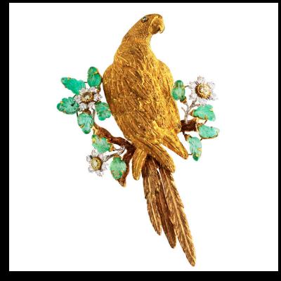 Buccellati Buccellati Emerald Diamond and Gold Bird Brooch