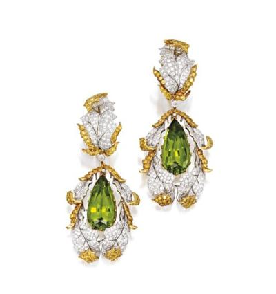 Buccellati Buccellati Late 20th Century Peridot Diamond and Gold Earrings