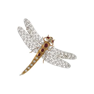 Buccellati Buccellati Mid 20th Century Diamond Ruby and Gold Dragonfly Brooch