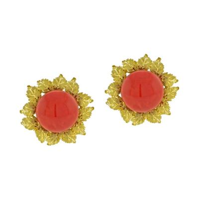 Buccellati Buccellati Oak Leaf Coral Earrings