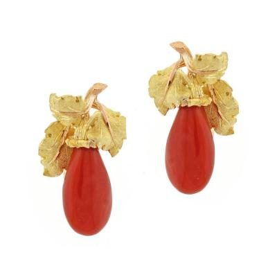 Buccellati Buccellati Ox Blood Coral Gold Earrings