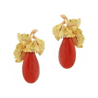 Buccellati Buccellati Ox Blood Coral Gold Earrings