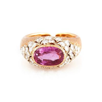 Buccellati Buccellati Pink Sapphire and Diamond Gold Ring