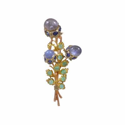 Buccellati Buccellati Sapphire Emerald Brooch