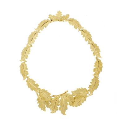 Buccellati Buccellati Two Color Gold Oak Leaf Necklace