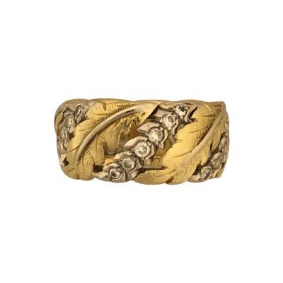 Buccellati Buccellati leaf ring with diamonds