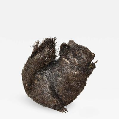 Buccellati Italian Silver Fuzzy Animal Figure of a Squirrel by Buccellati
