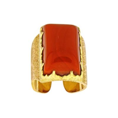 Buccellati M Buccellati Rare Coral Pink and Yellow Gold Ring