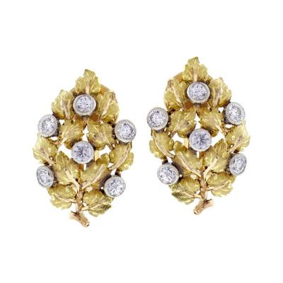 Buccellati Mario Buccellati Diamond Leaf Earrings