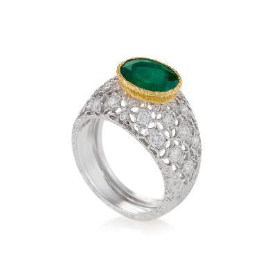 Buccellati Mario Buccellati Estate Emerald Diamond and Gold Ring