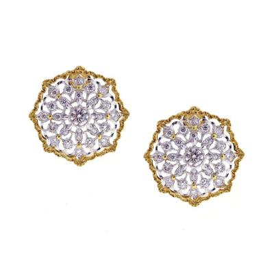 Buccellati Mario Buccellati Round Cassiopeia Diamond Gold Earrings