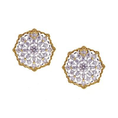 Buccellati Mario Buccellati Round Cassiopeia Diamond Gold Earrings