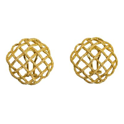 Buccellati Pair of 18 Karat Gold Crepe de Chine Earclips by Buccellati Italy