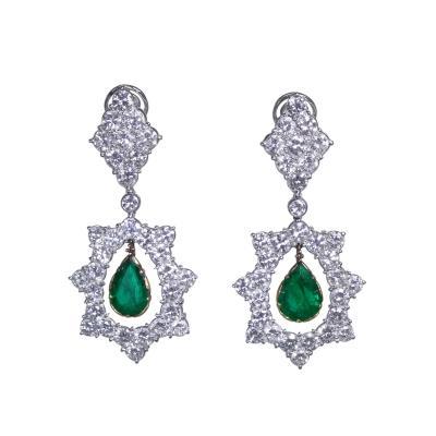 Buccellati Pair of 18 Karat Gold Emerald and Diamond Pendant Earclips by Buccellati Italy