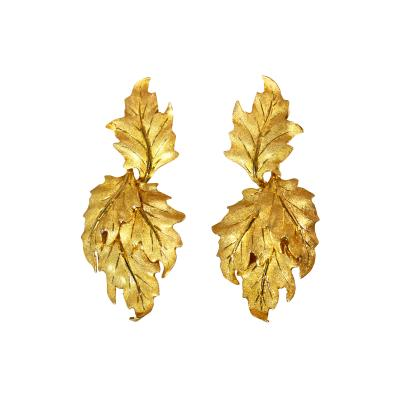 Buccellati Pair of 18 Karat Gold Leaf Earclips by Buccellati Italy
