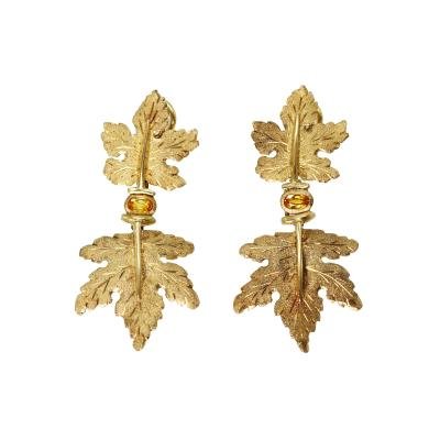 Buccellati Pair of 18 Karat Gold and Yellow Sapphire Earclips by Buccellati Italy