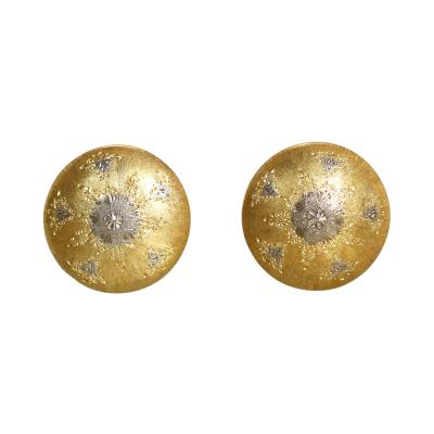 Buccellati Pair of 18 Karat Two Tone Gold Earclips by M Buccellati