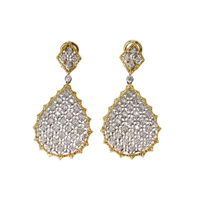 Buccellati Pair of 18 Karat Two Tone Gold and Diamond Pendant Earrings by Buccellati Italy