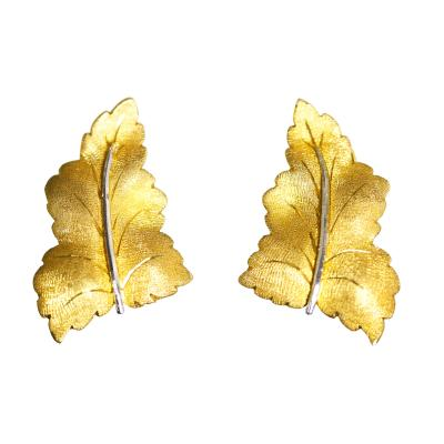 Buccellati Pair of 18 Karat White and Yellow Gold Earclips by Buccellati Italy
