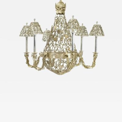 Buccellati Silver Plated Buccellati Style Six Light Marine Seashell Nautical Chandelier