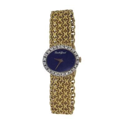 Bueche Girod Beuche Girod Ladys Yellow Gold and Diamond Braclet Watch with Lapis Lazuli
