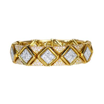 Bulgari 18 Karat Gold Platinum and Diamond Bracelet by Bulgari Italy