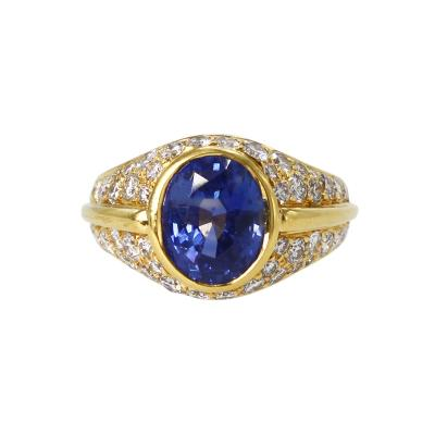 Bulgari 18 Karat Gold Sapphire and Diamond Ring by Bulgari Italy
