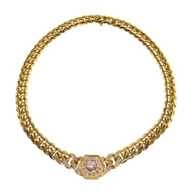 Bulgari 18 Karat Gold and Diamond Necklace by Bulgari Italy circa 1980