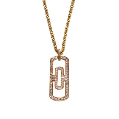 Bulgari 18 Karat Pink Gold and Diamond Parentesi Pendant Necklace by Bulgari