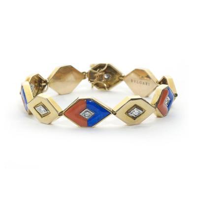 Bulgari Bulgari Coral Lapis Lazuli Diamond Gold Bracelet