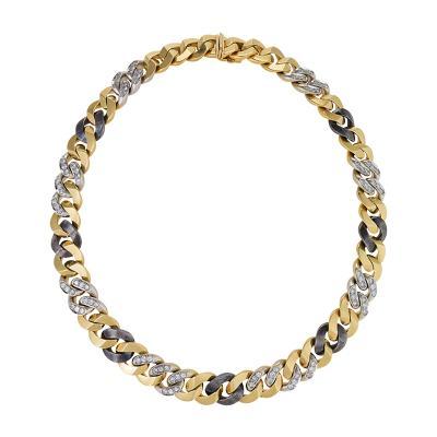 Bulgari Bulgari Late 20th Century Diamond Gold and Gun Metal Curb Necklace