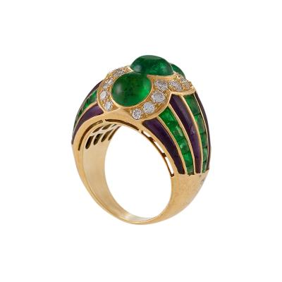 Bulgari Bulgari Late 20th Century Emerald Diamond Amethyst and Gold Ring