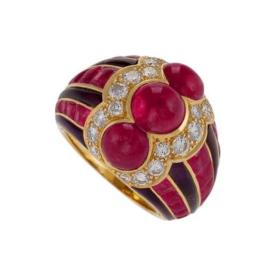 Bulgari Bulgari Late 20th Century Ruby Diamond Amethyst and Gold Ring