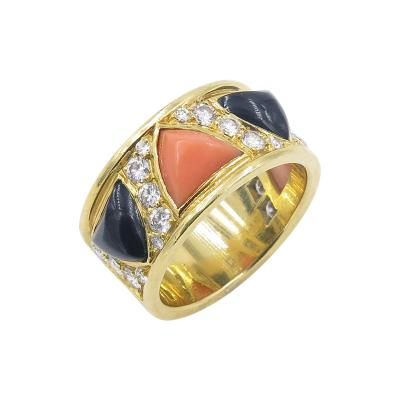 Bulgari Bulgari Yellow Gold Diamond Coral and Black Onyx Ring