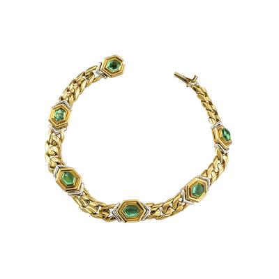 Bulgari Bvlgari Estate Emerald Gold Platinum Link Bracelet