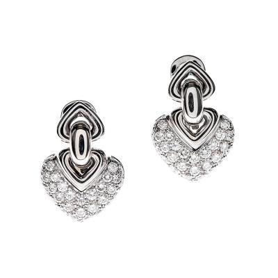 Bulgari Diamond White Gold Heart Shaped Earrings
