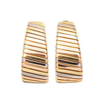 Bulgari Large Bulgari Tricolor Gold Hoop Earrings