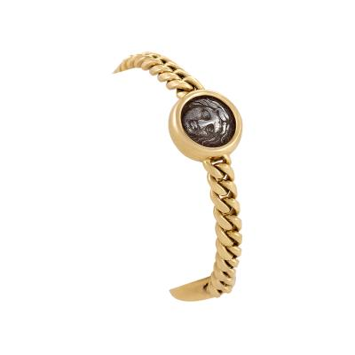 Bulgari Late 20th Century Italian Gold and Ancient Coin Curb Link Bracelet