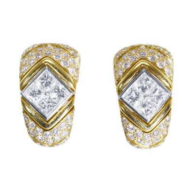 Bulgari Pair of 18 Karat Gold Platinum and Diamond Earclips by Bulgari Italy