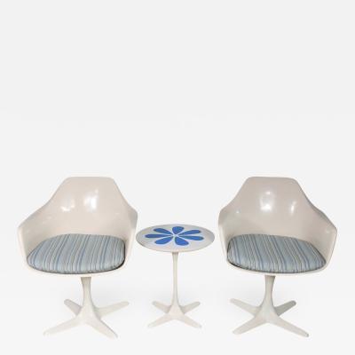 Burke Set burke tulip style swivel chairs side table w mod flower petal design