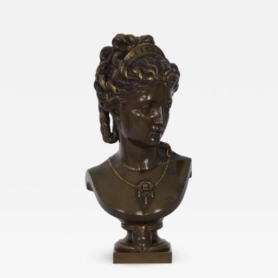 Buste de Femme au Diad me in bronze Eugene Aizelin French 1821 1902