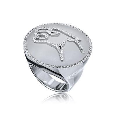Bvlgari Bulgari BVLGARI 18K WHITE GOLD GIANNI ENIGMA QUARTZ ROCK CRYSTAL DIAMOND JAGUAR RING